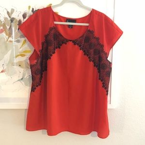 Short Sleeve Red Blouse with Lace Accents